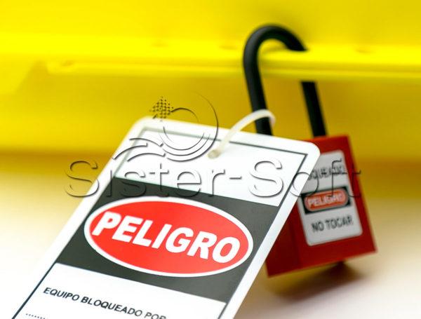 Bloqueo amarillo para enchufes eléctricos con cable hasta 25mm de diámetro