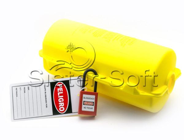 Bloqueo amarillo para enchufes eléctricos con cable hasta 35mm de diámetro