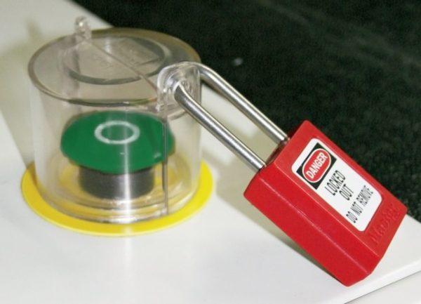 Bloqueo para setas de emergéncia y botones giratorios autoadhesivo