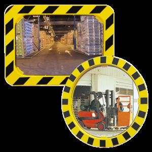 Espejos industriales con marcos amarillos y negros en formato cuadrado o redondo