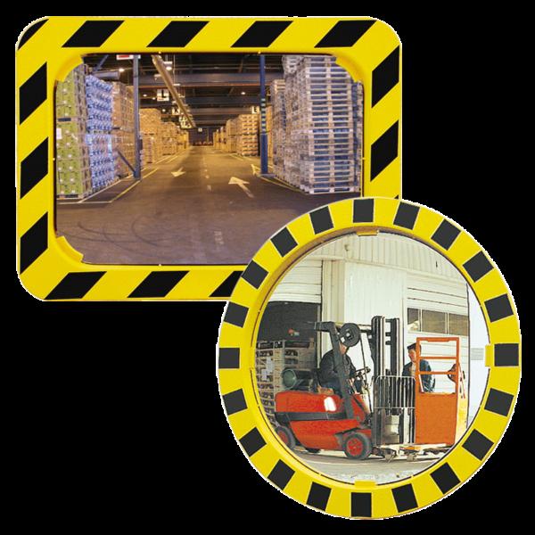 Espejos industriales de seguridad con marco amarillo y negro.