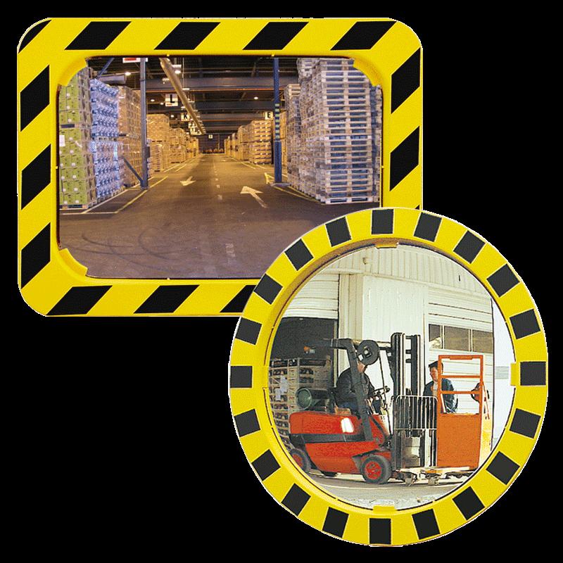 Espejos industriales de seguridad con marco amarillo y for Espejos de seguridad