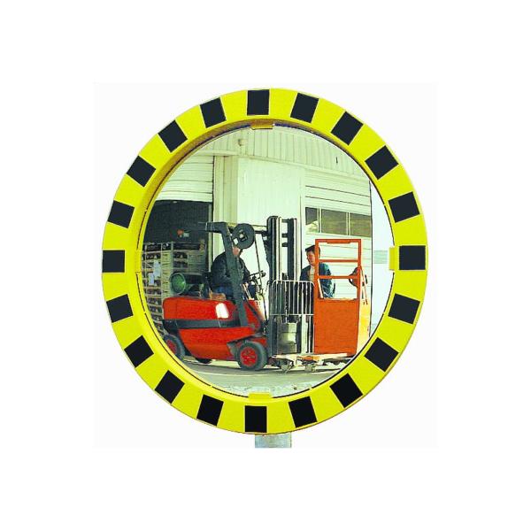 Espejos industriales con marcos amarillos y negros en formato redondo