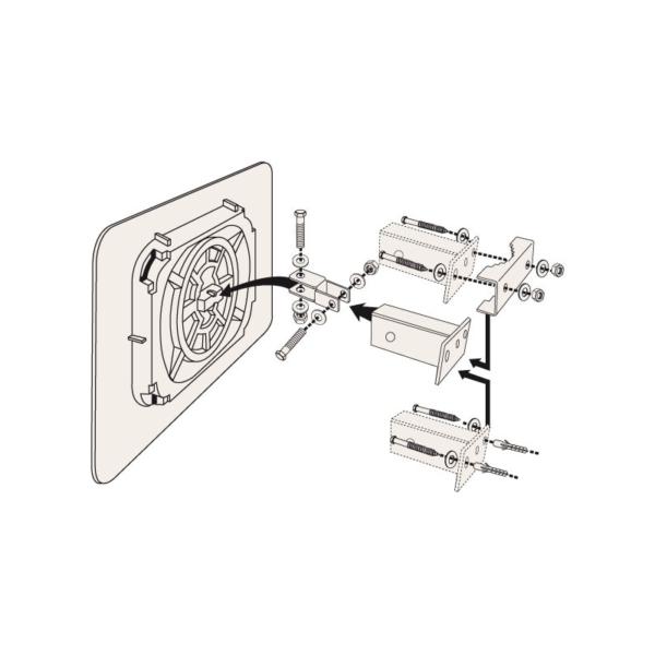 Esquema del sistema de fijación de los espejos industriales de 2 direcciones