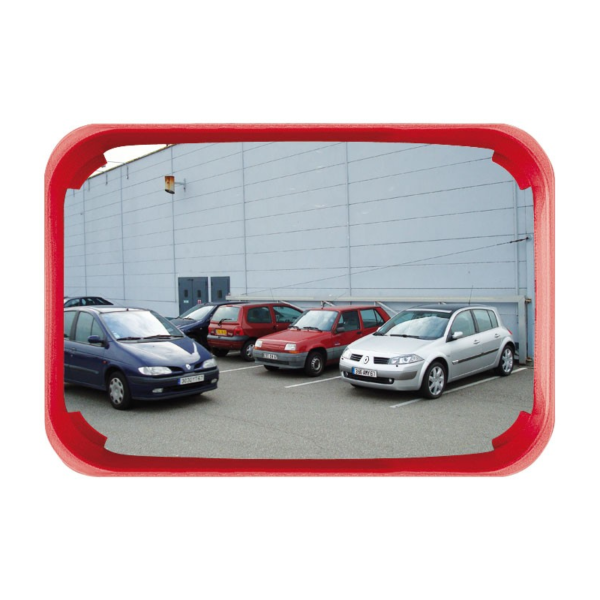 Espejo rectangular con marco rojo para exterior