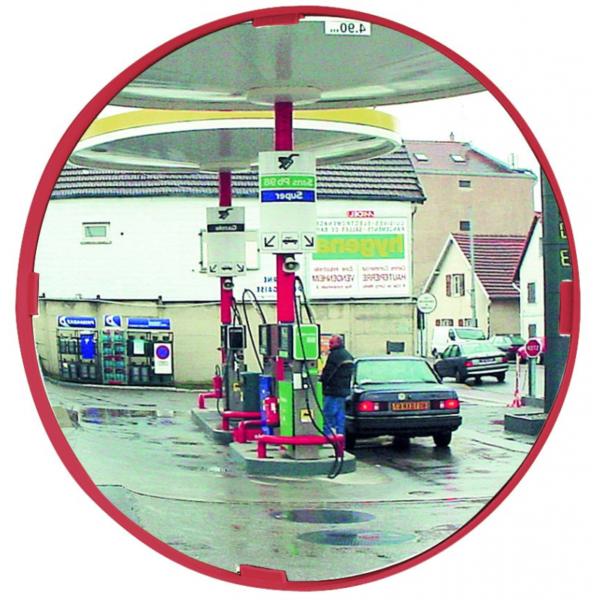 Espejo de seguridad circular con marco rojo para exterior
