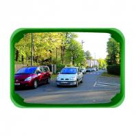 Espejo de seguridad rectangular con marco verde para exterior