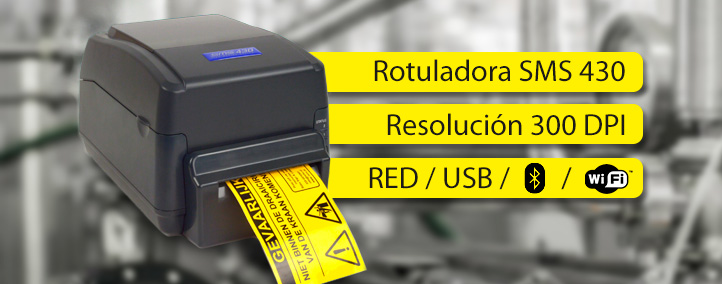 SMS 430 Rotuladora Industrial con conectivitat WiFi - Blouetooth - USB - RED