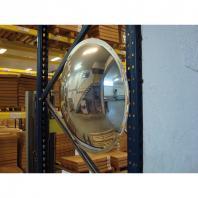 Aplicación real del espejo industrial semiesférico con óptica Polymir® para colgar en muro