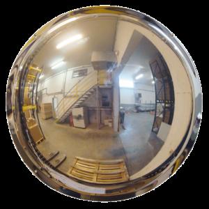 Espejo Industrial semiesférico con óptica Polymir® para colgar en muro