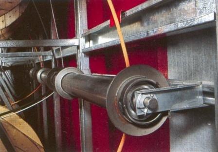 eje estanterias bobinas de cable con rodillo guia