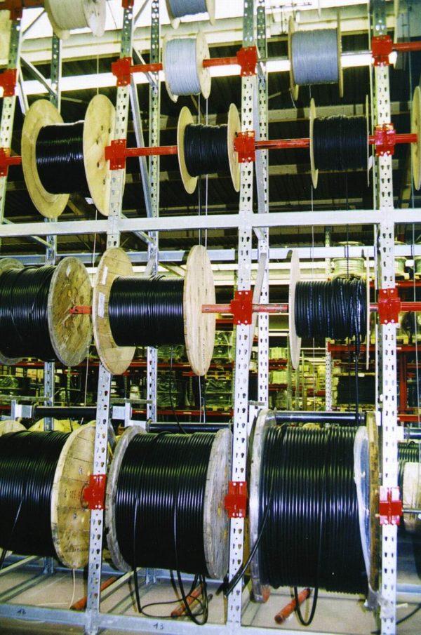Estanteria de bobinas de cable con rodillos guía 3