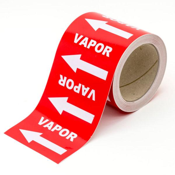 Marcador de tuberías con flechas y texto para Vapor