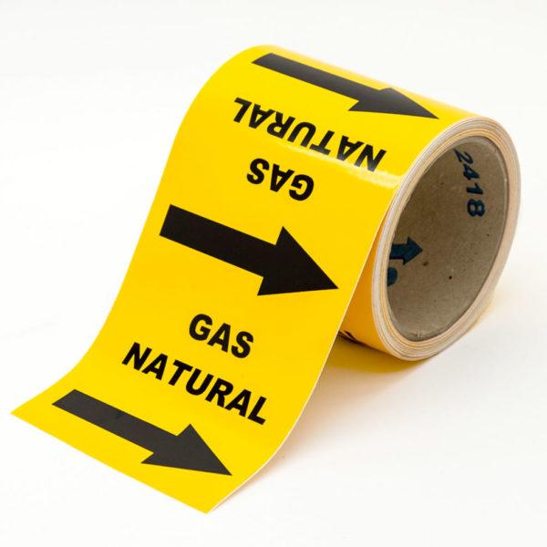 Marcador de tuberías con flechas y texto para Gas Natural