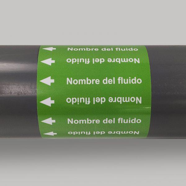 Muestra de marcador de tuberías sin pictogramas de peligro con la ISO 20560